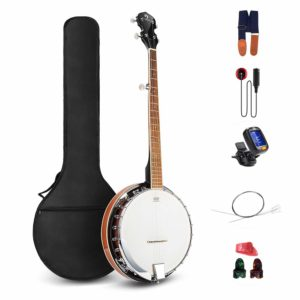 Vangoa 5 String Banjo Remo Head Closed Solid Back